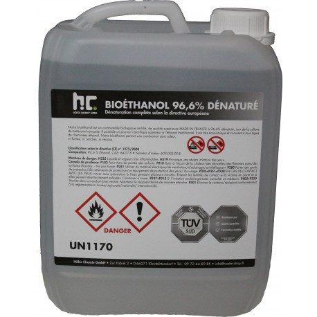 Bioethanol a 96,6 % denature 4 x 5 L